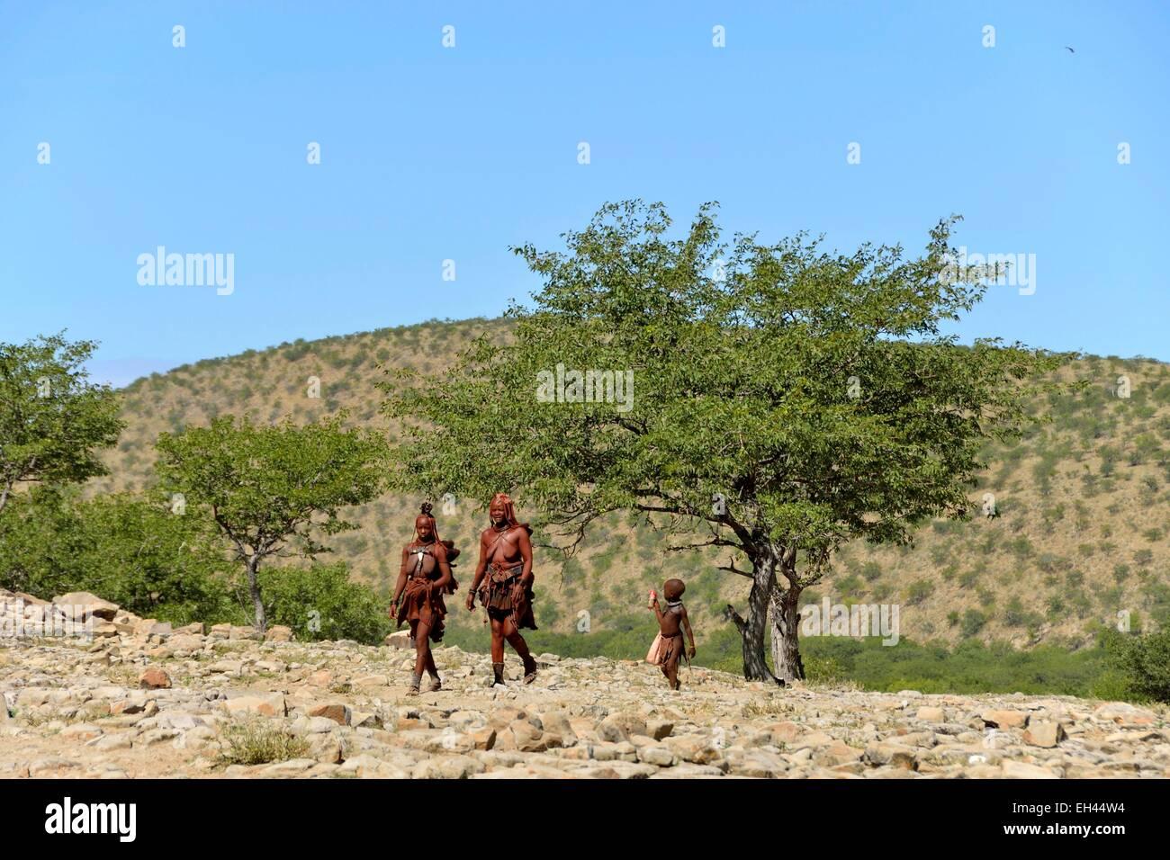 Namibie, Kaokoland ou Kaokoveld, village himba, ethnie bantoue/Namibia, Kaokoland or Kaokoveld, Himba village Stock Photo