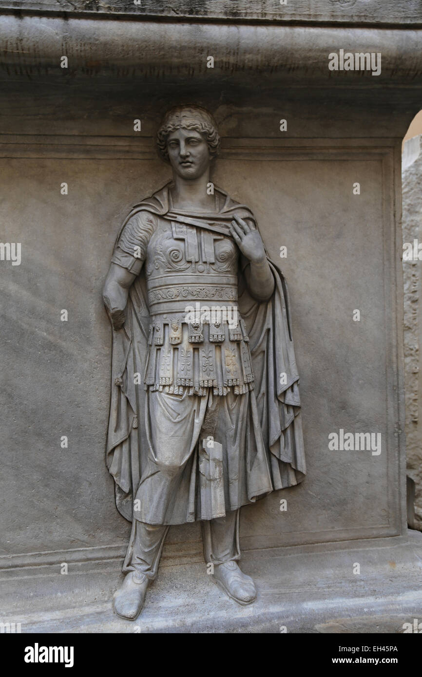 Italy. Rome. Capitoline Museum. The courtyard of Conservatori Palace. Personifications of Provinces Germanica, subject - Stock Image