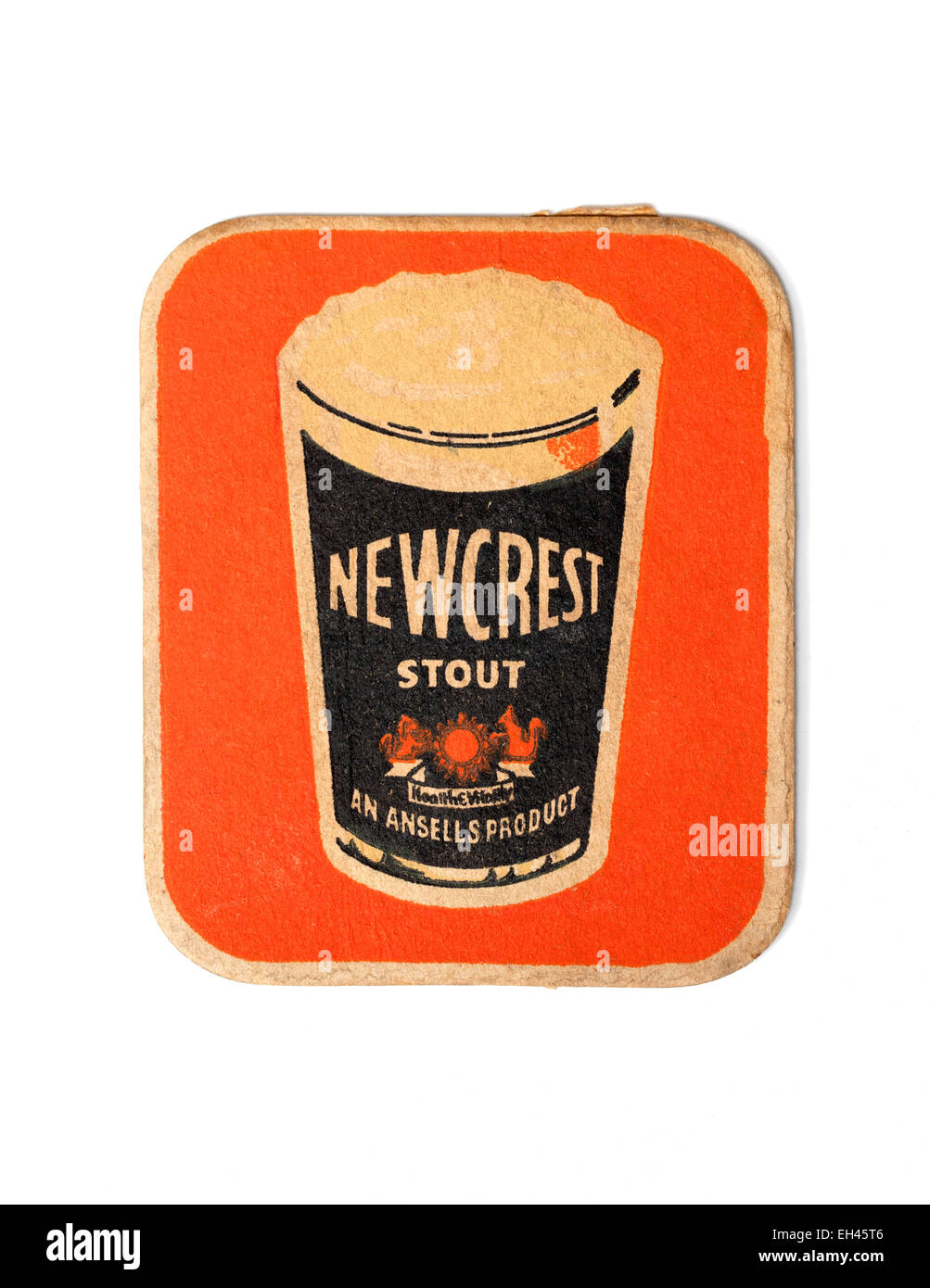 Vintage British Beermat Advertising Newcrest Stout Beer by Ansells Stock Photo