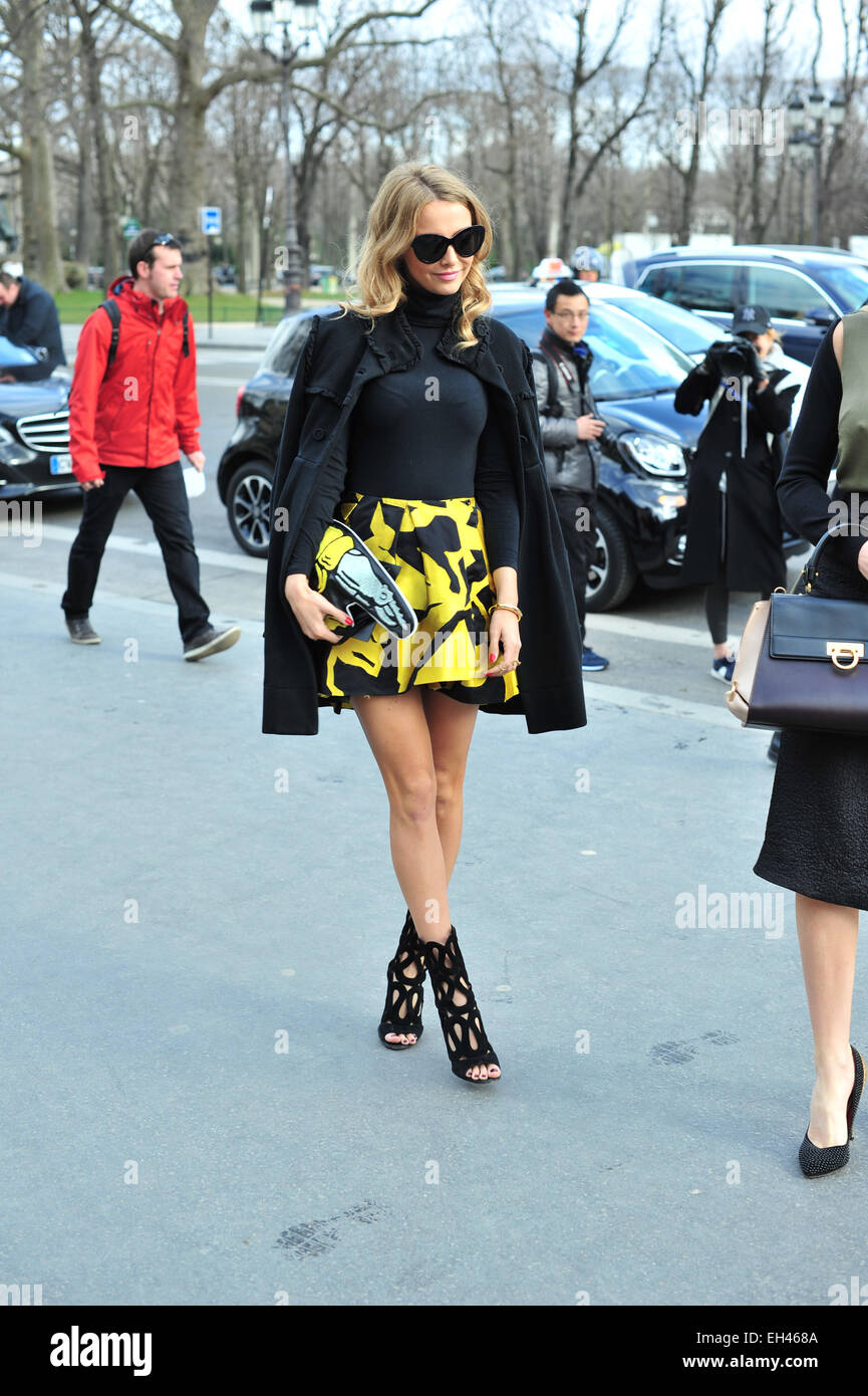 Sophie Hermann arriving at the Guy Laroche runway show in Paris - March 4, 2015 - Photo: Runway Manhattan/Celine - Stock Image