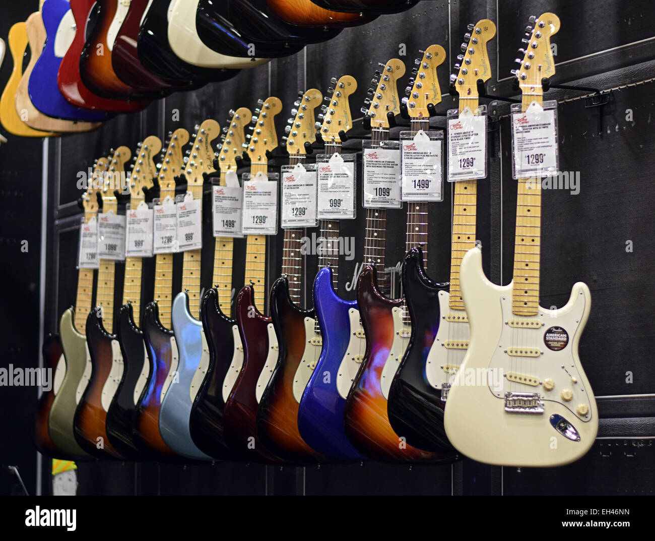 fender electric guitars for sale at the guitar center on west 14th stock photo 79383745 alamy. Black Bedroom Furniture Sets. Home Design Ideas