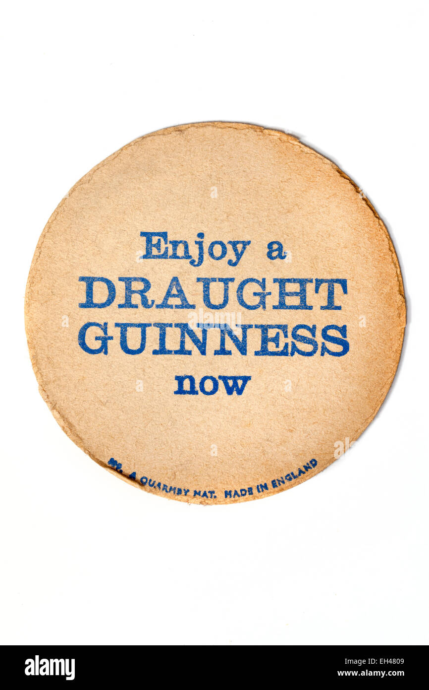 Vintage Beermat Advertising Draught Guinness - Stock Image