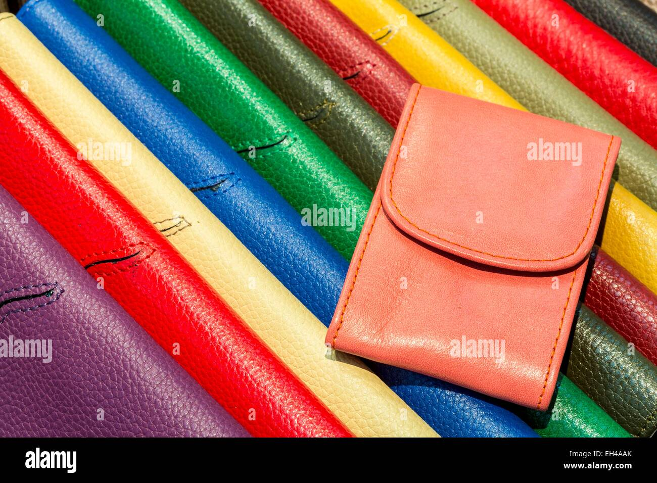 Morocco, High Atlas, Marrakech, imperial city Gueliz, brand shop Gallery Tanners, purses and leather pouch manufactured - Stock Image