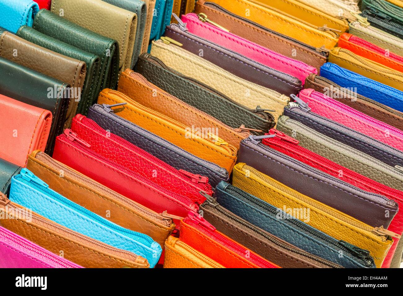 Morocco, High Atlas, Marrakech, imperial city Gueliz, boutique brand Gallery Tanners, leather purses manufactured - Stock Image