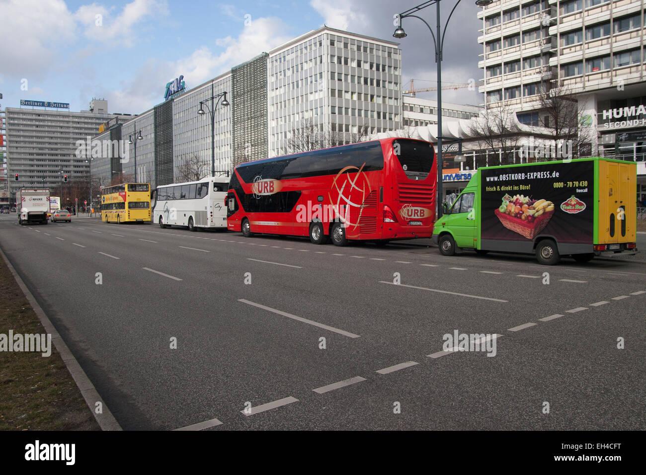 Street Parking Coaches Berlin Germany Stock Photo