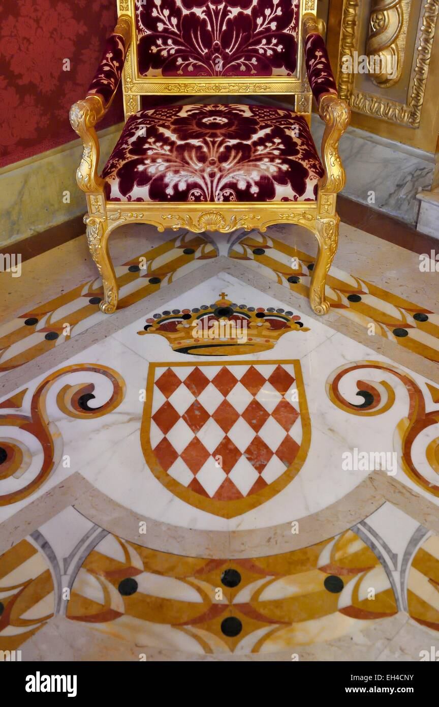 Principality of Monaco, Monaco, the Rock, the royal palace, the Duke of York room, Blazon of Grimaldi - Stock Image