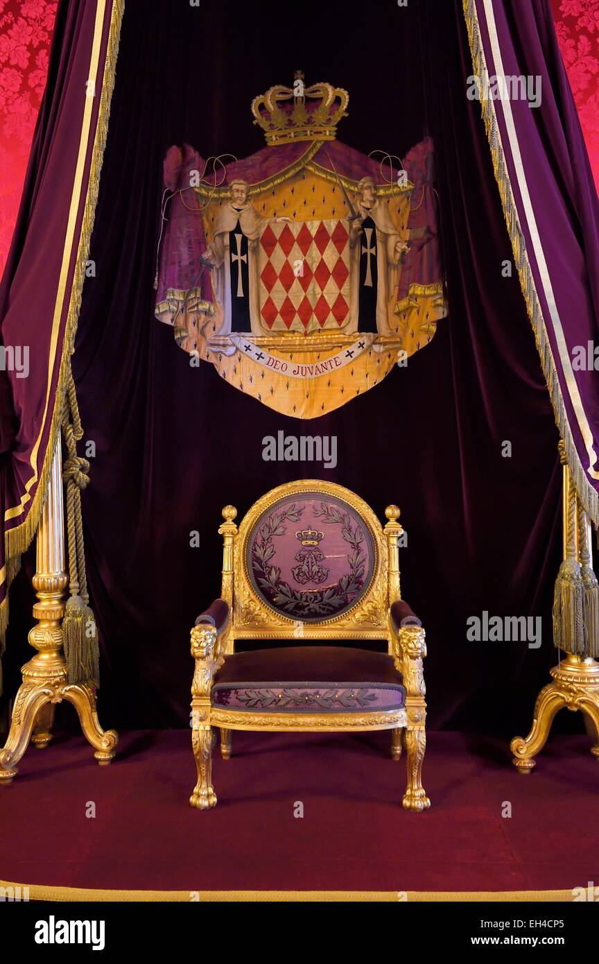 Principality of Monaco, Monaco, the Rock, the royal palace, Throne Room - Stock Image