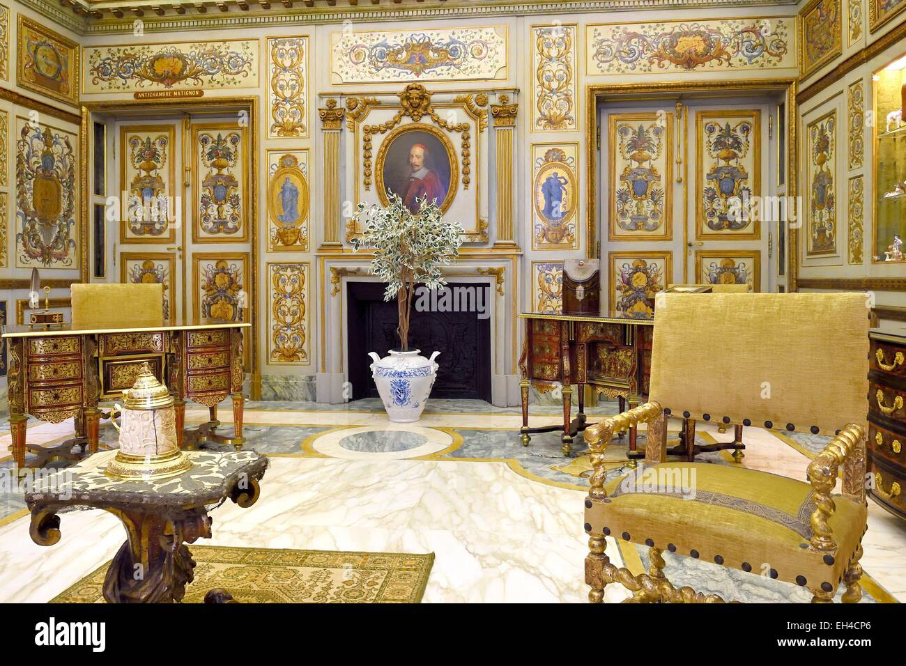 Principality of Monaco, Monaco, the Rock, the royal palace, the salon Mazarin - Stock Image