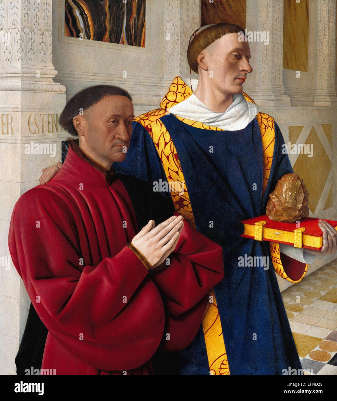 Jean Fouquet  Etienne Chevalier with Saint Stephen - Stock Image