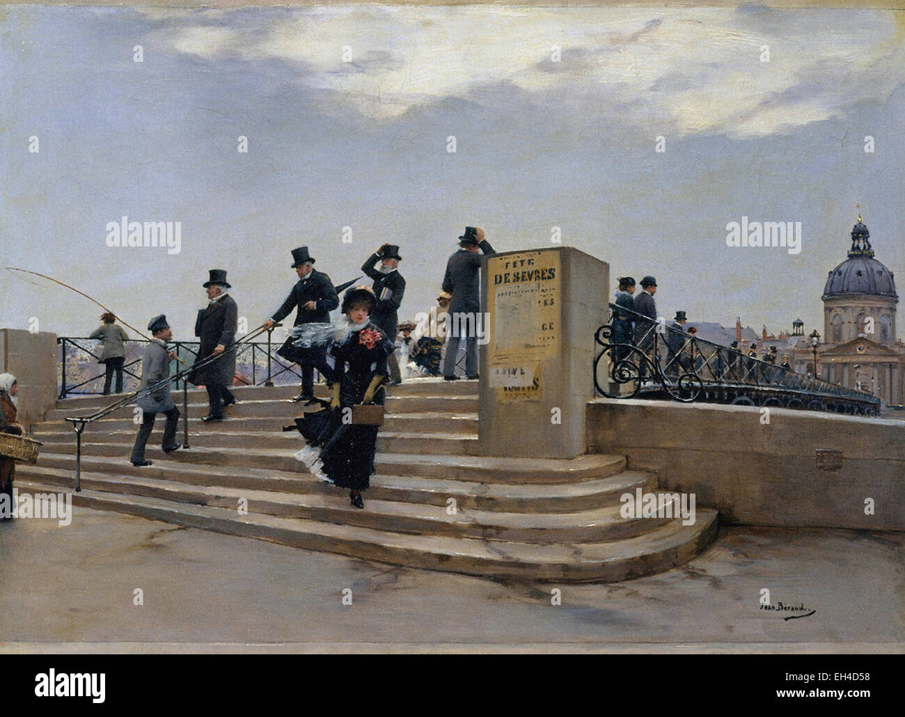 Jean Béraud  A Windy Day on the Pont des Arts - Stock Image