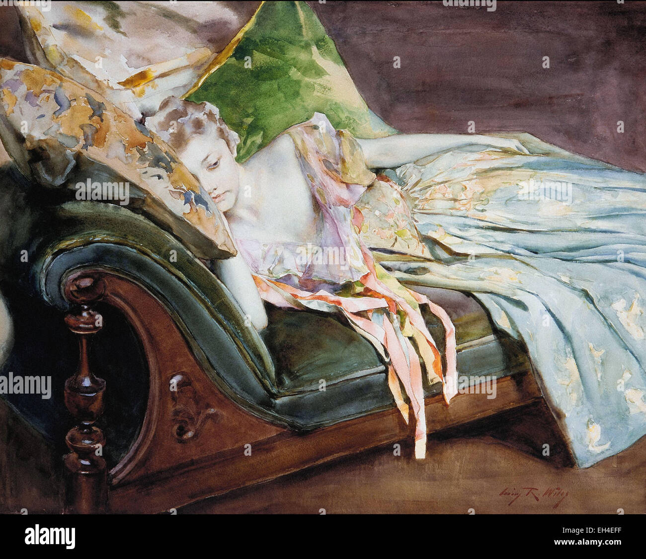 Irving Ramsey Wiles  The Green Cushion - Stock Image