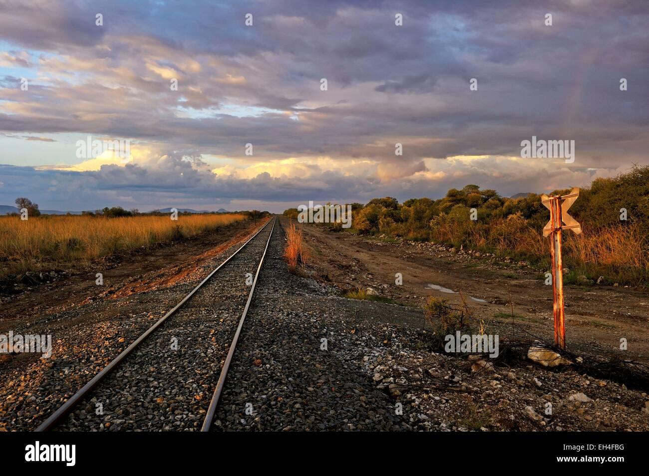 Namibia, Khomas region, near Windhoek, railway - Stock Image