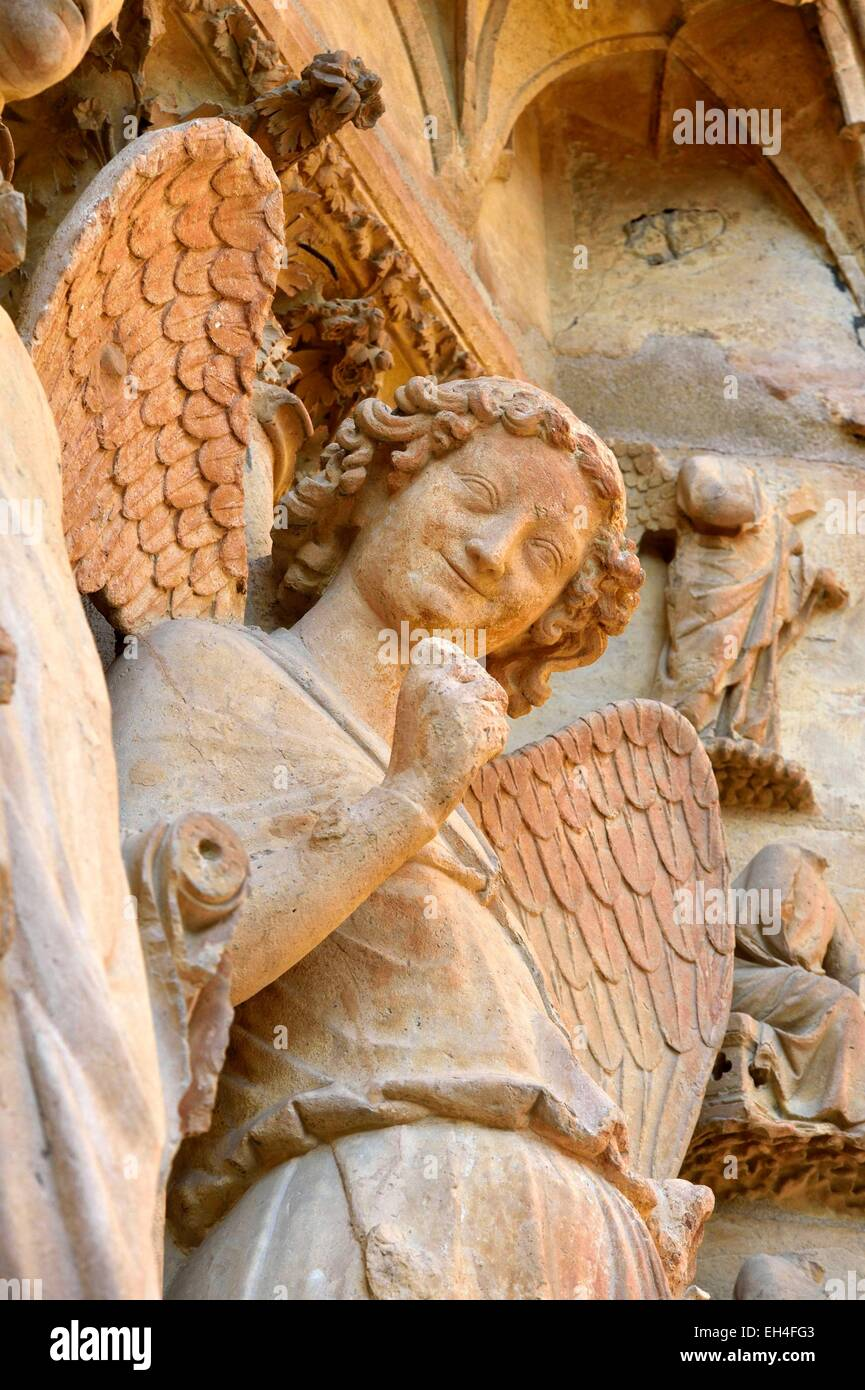 France, Marne, Reims, Notre Dame cathedral, listed as World Heritage by UNESCO, detail of a sculpture representing - Stock Image