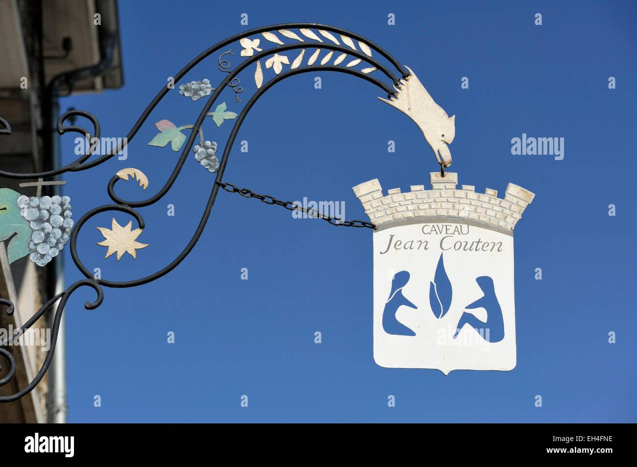 France, Marne, Hautvillers, wrought iron sign bearing the Caveau Jean Couten - Stock Image