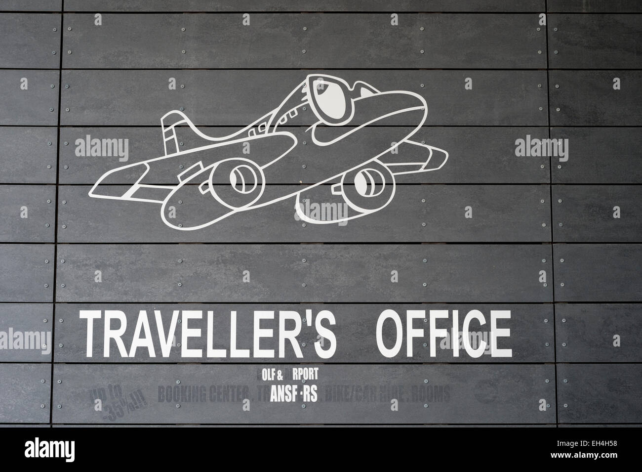 Traveller's office logo and sign with aeroplane in Portugal - Stock Image