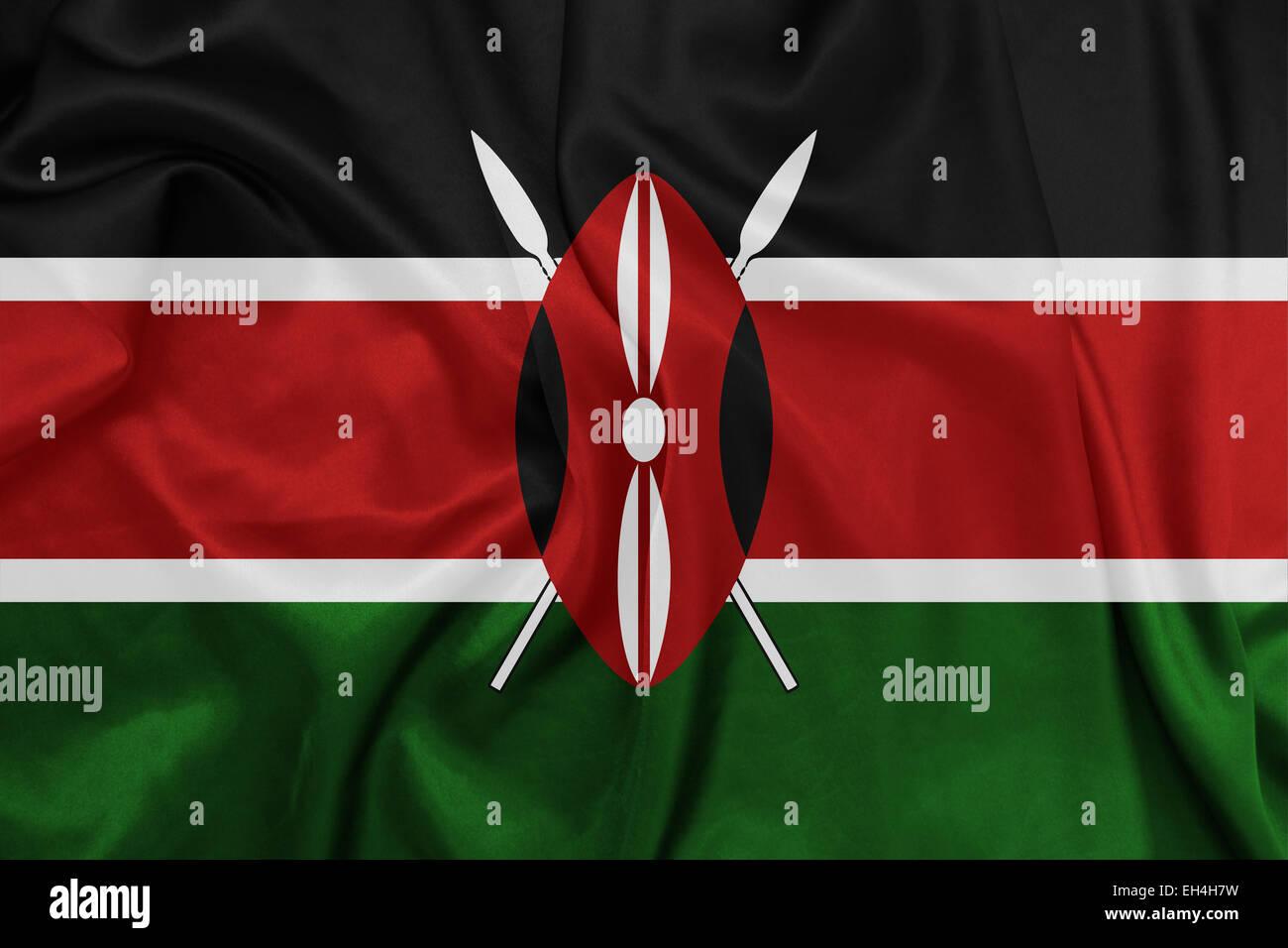 Kenya - Waving national flag on silk texture Stock Photo