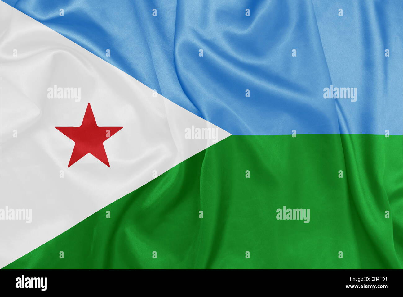 Djibouti - Waving national flag on silk texture - Stock Image