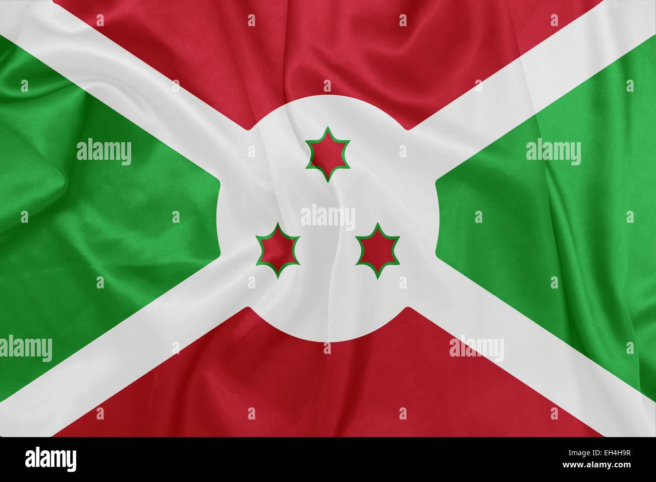 Burundi - Waving national flag on silk texture - Stock Image