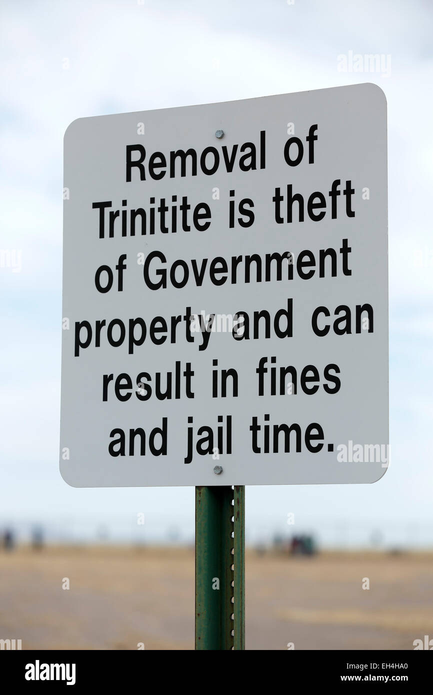 Trinitite sign, Trinity Site (first nuclear explosion, 1945), New Mexico USA - Stock Image