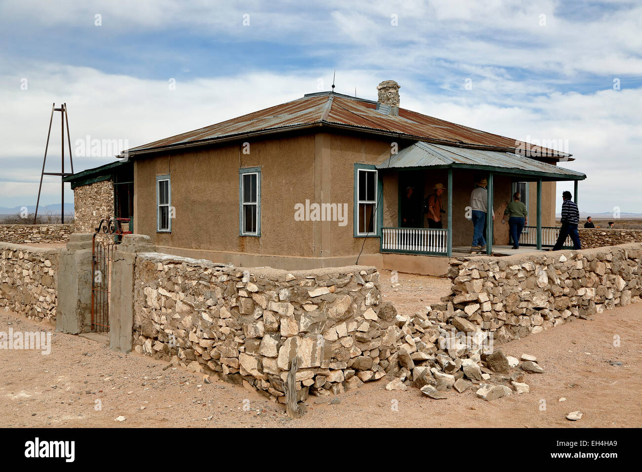 Visitors at Schmidt McDonald Ranch House, Trinity Site (first nuclear explosion, 1945), New Mexico USA - Stock Image