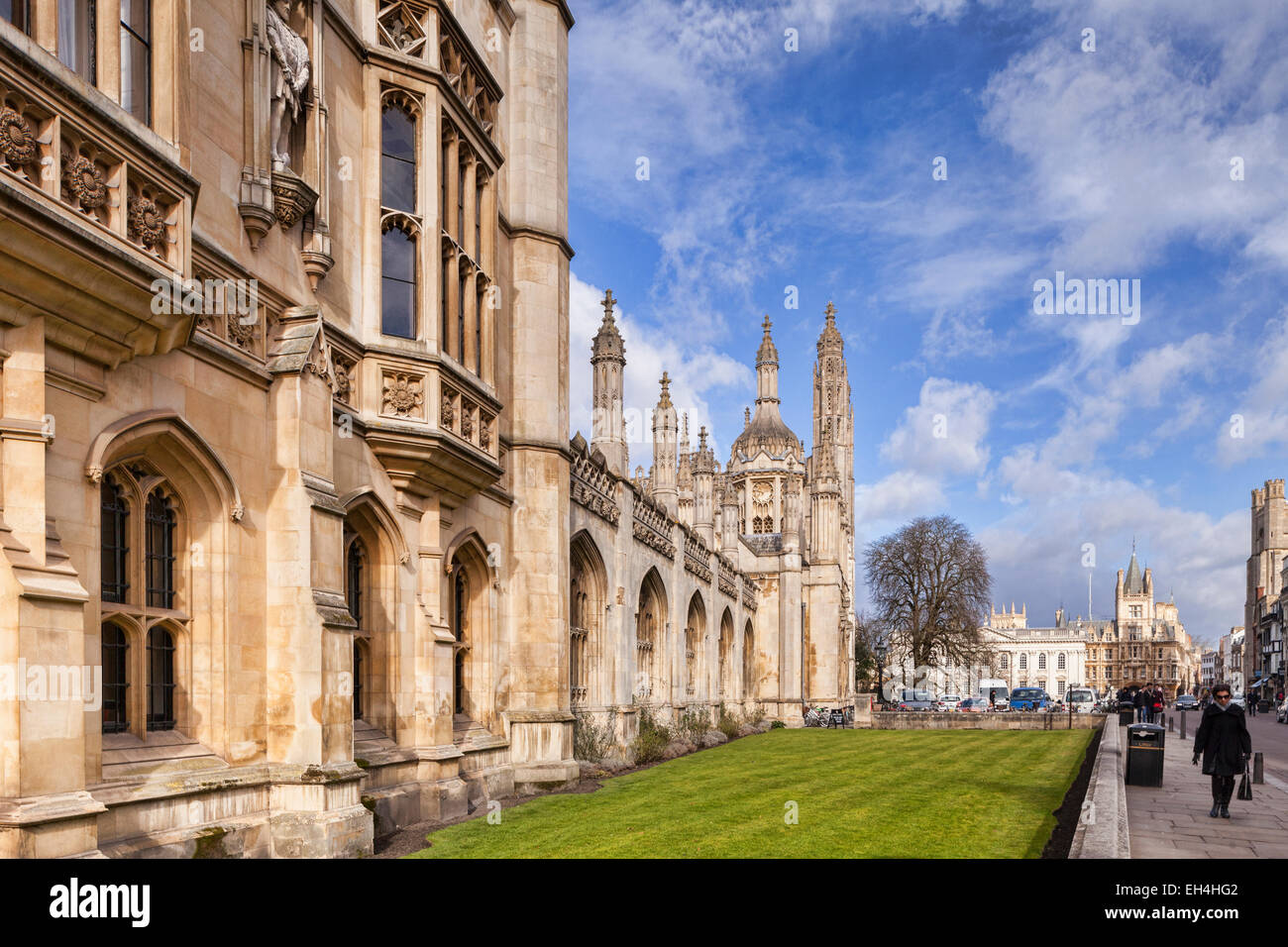 The facade of King's College, Cambridge, looking along King's Parade to the Senate House and Gonville and - Stock Image
