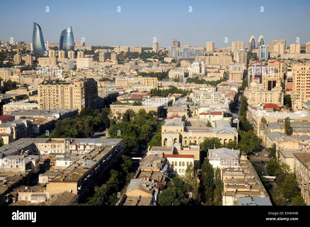 Azerbaijan, Baku, general view of the city and the Flame Towers - Stock Image