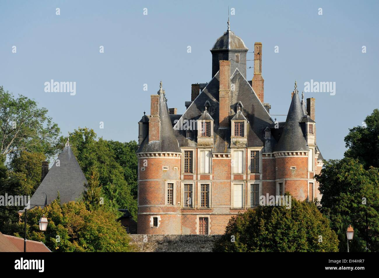 France, Marne, Montmort Lucy, castle behind the wall - Stock Image