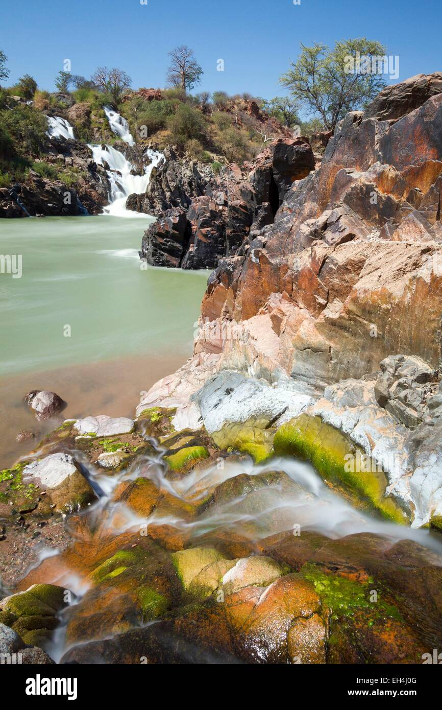 Namibia, Kunene region, Kaokoland, waterfalls on the Kunene River downstream of Epupa Falls - Stock Image