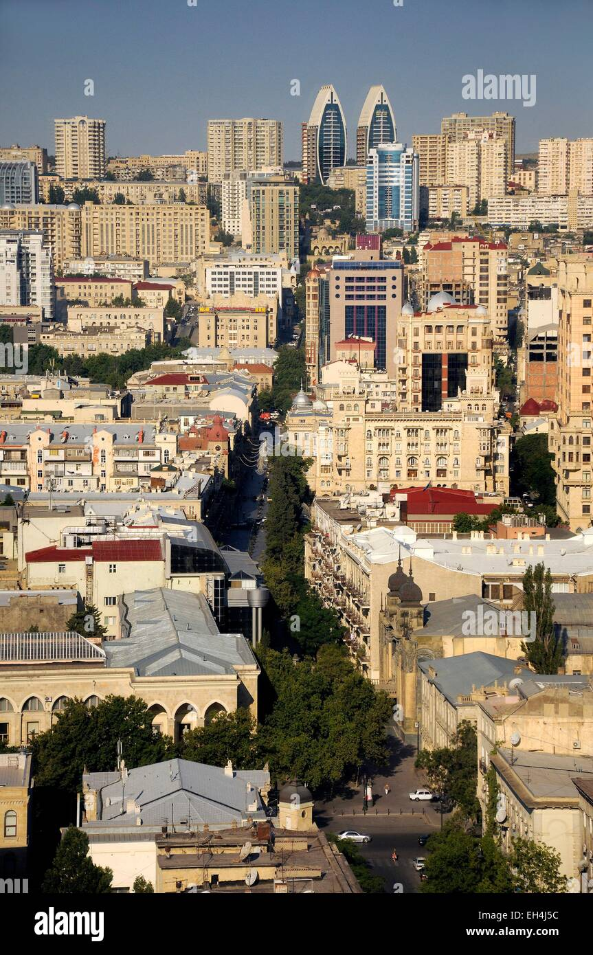 Azerbaijan, Baku, general view of the city and Nizami street Stock Photo