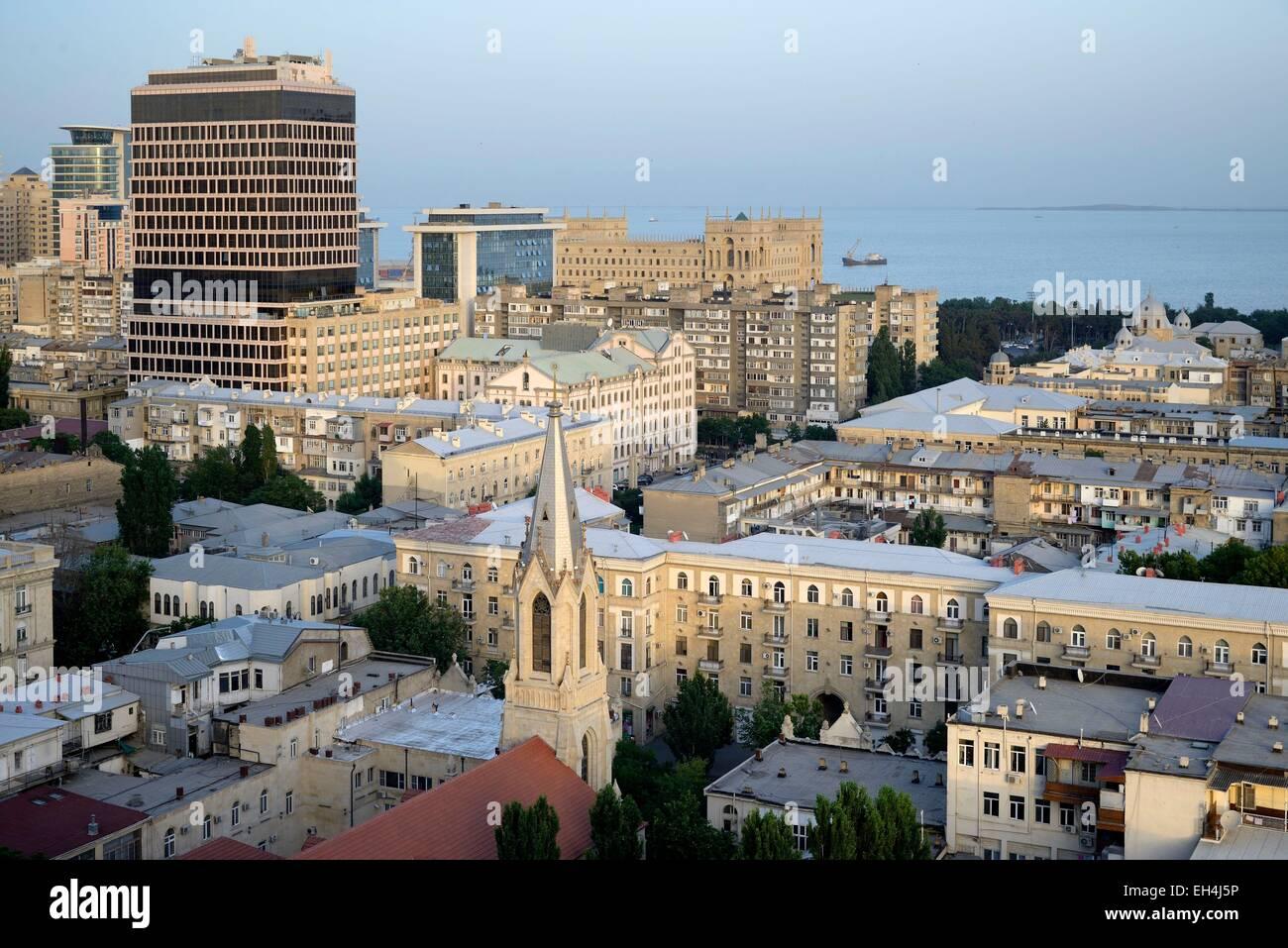 Azerbaijan, Baku, General view of the city and the Caspian sea - Stock Image