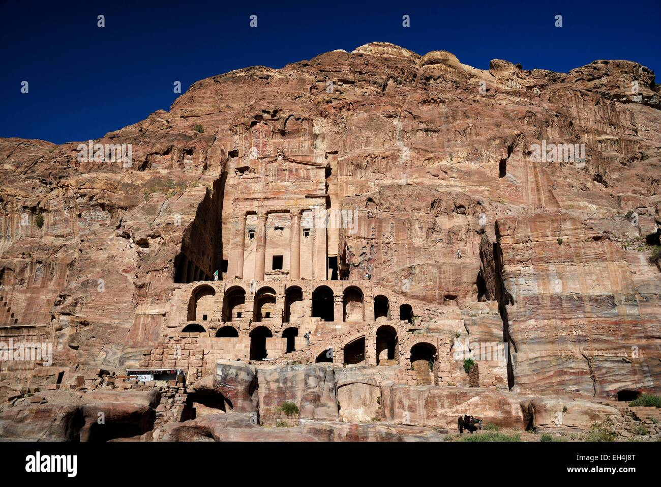 Jordan, Nabataean archeological site of Petra, listed as World Heritage by UNESCO, the Urn Tomb is part of the Royal Stock Photo