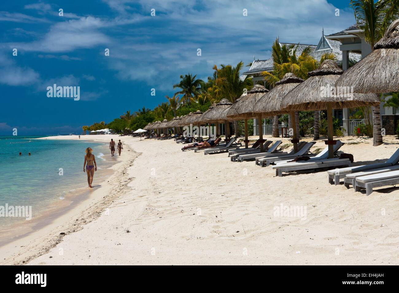 Mauritius, South West Coast, Black River District, the beach of the Hotel St. Regis Mauritius - Stock Image