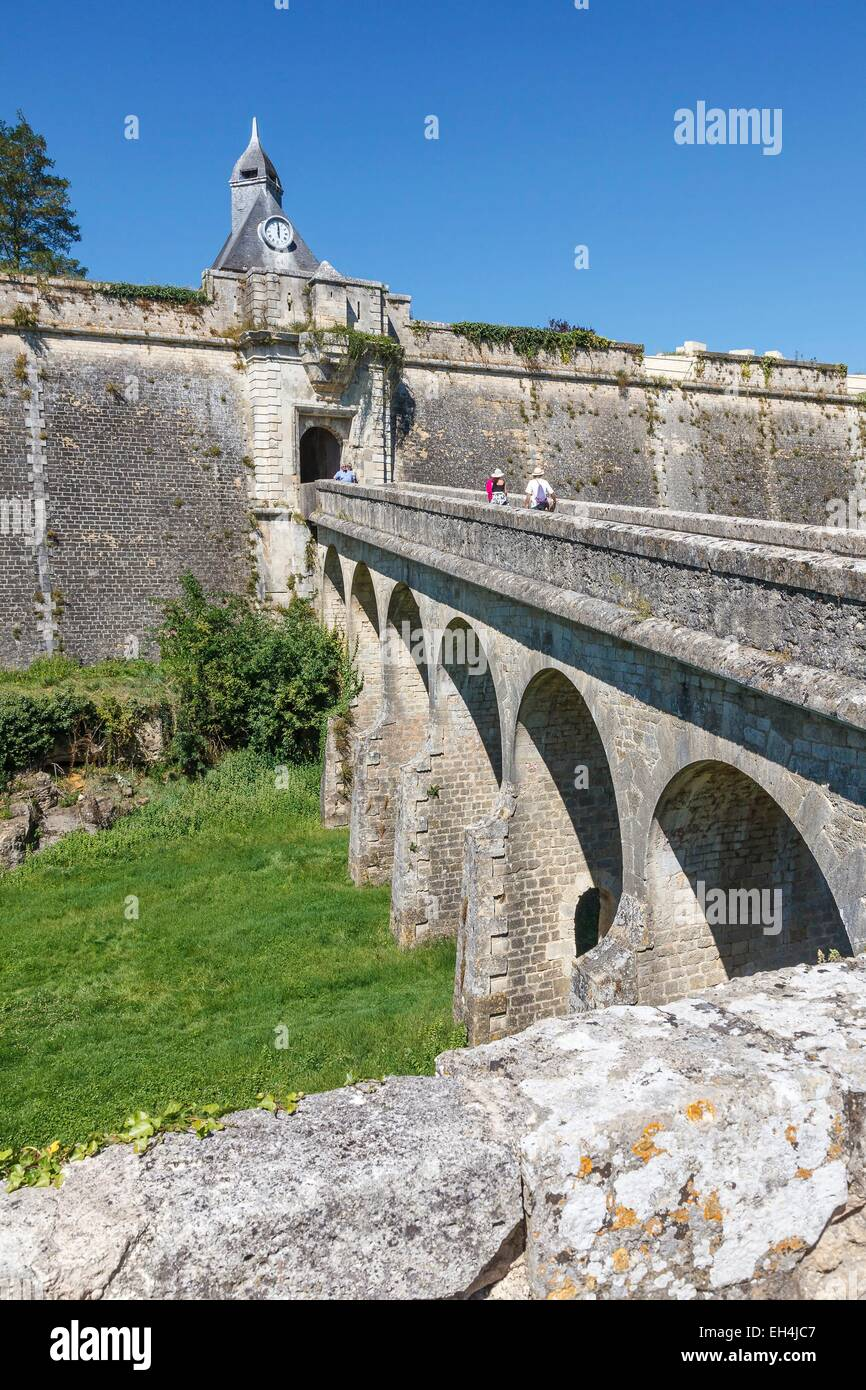 France, Gironde, Blaye, the citadel, Porte Dauphine, Fortifications of Vauban, listed as World Heritage by UNESCO - Stock Image
