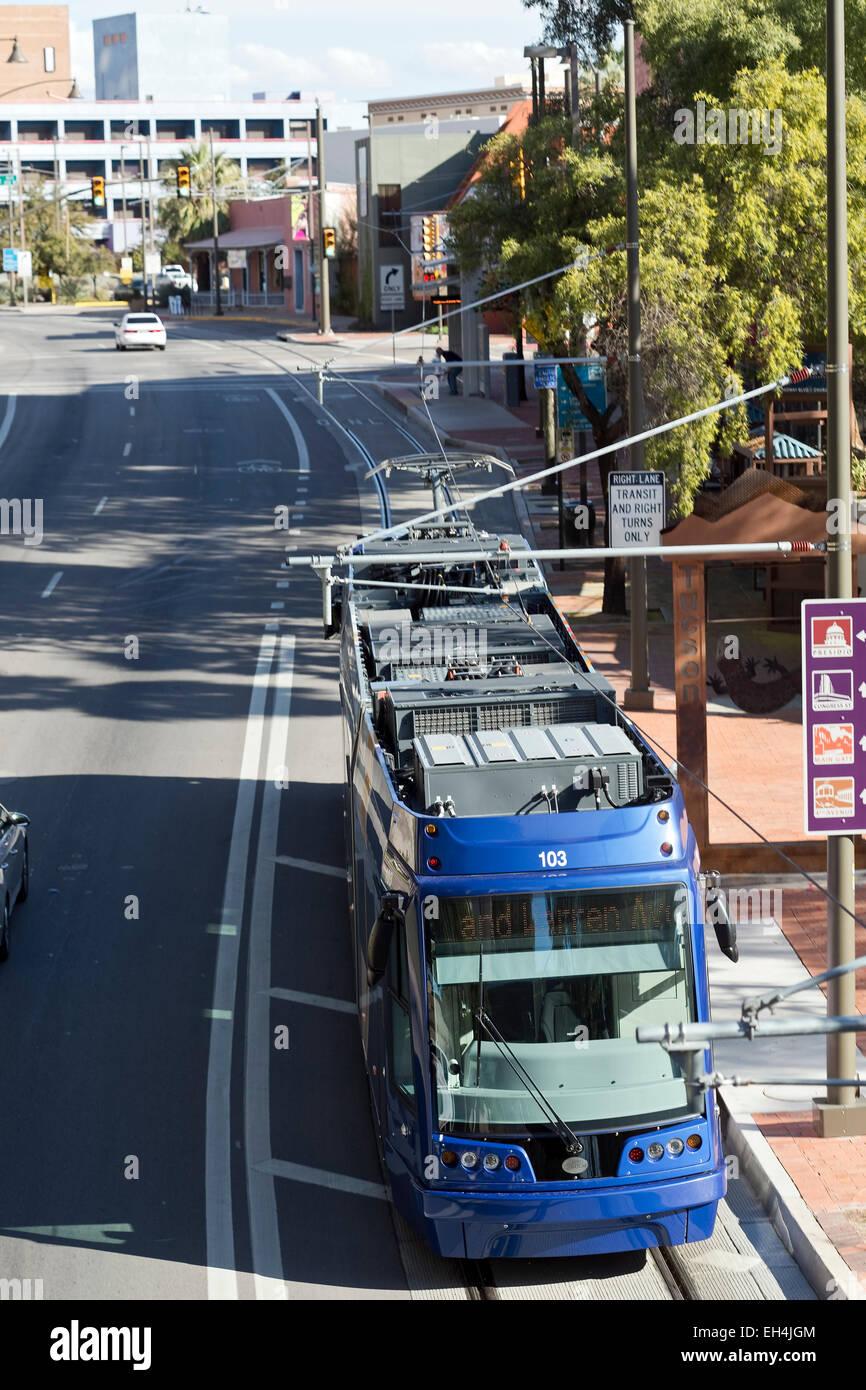 sunlink streetcar light rail system tucson az stock photo