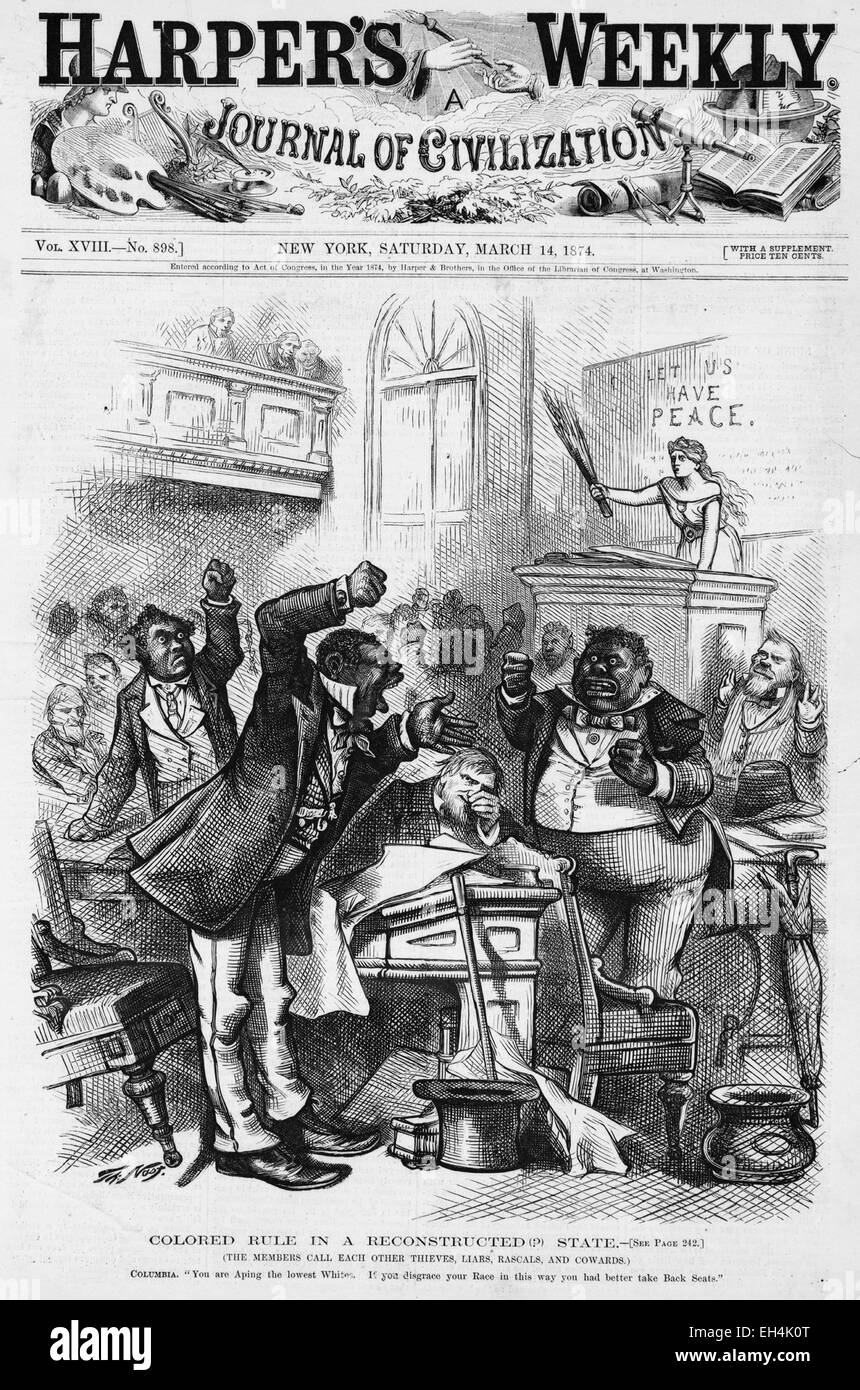 'Colored rule in a reconstructed state' Cover of Harper's Weekly 14 March 1874 satirising members of - Stock Image