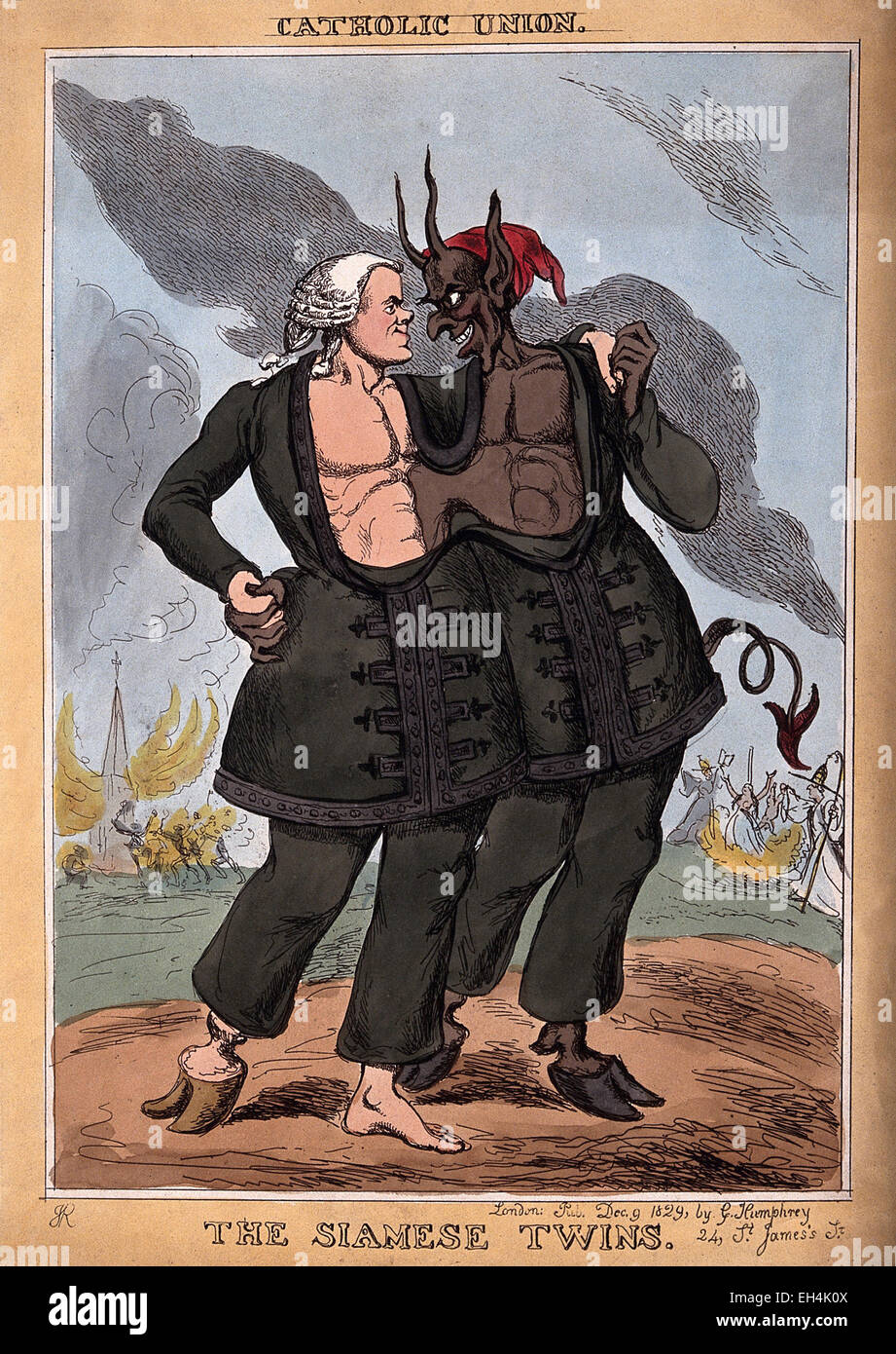 DANIEL O'CONNELL (1775-1847)  Irish politician shown with Satan as Siamese twins in an 1829 cartoon satirising - Stock Image