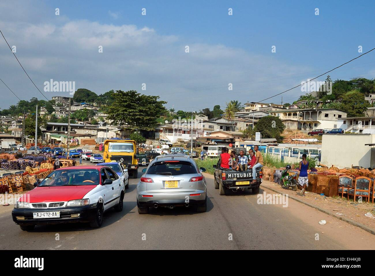 Gabon, Libreville, sale of furniture along the Route National 1 (state highway) - Stock Image