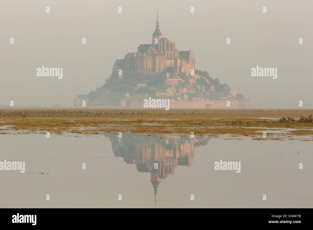 France, Manche, Mont Saint Michel bay, listed as World Heritage by UNESCO, Mont Saint Michel at high tide - Stock Image