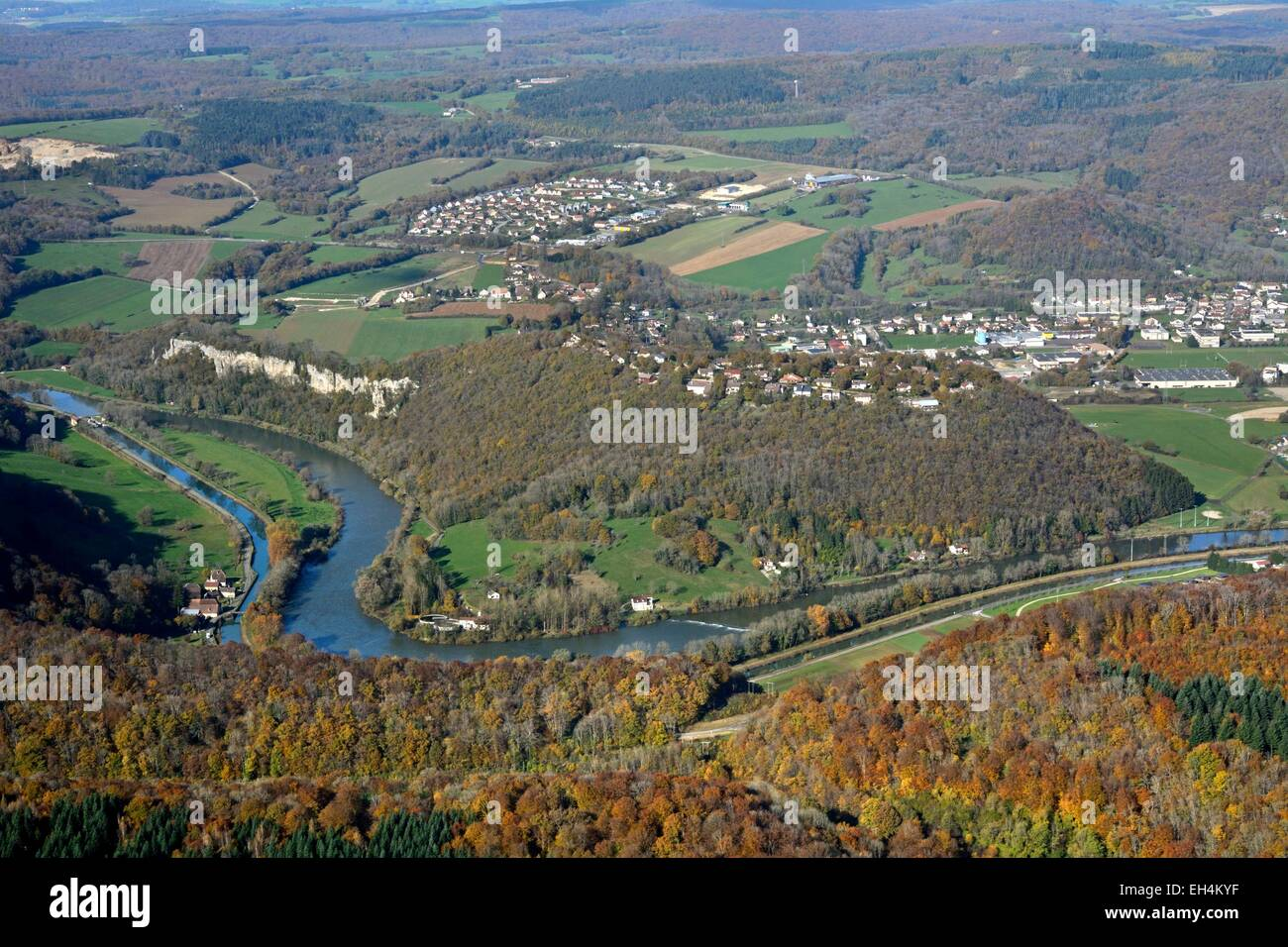 France, Doubs, Baume les Dames, Doubs valley and the Rhone-Rhine canal in autumn (aerial view) - Stock Image