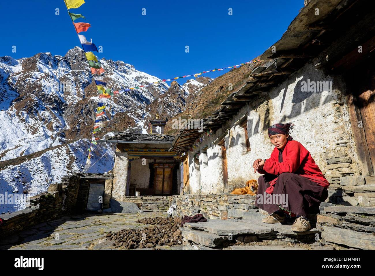 Nepal, Gandaki zone, Tsum valley trek, the 600 years old Dhephu Doma nunnery (alt.3700m), Chadong is one of the - Stock Image