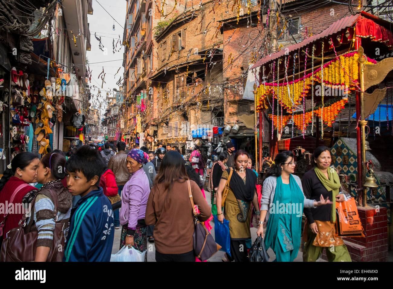 Nepal, Kathmandu valley, listed as World Heritage by UNESCO, Bagmati zone, Kathmandu, Indra Chowk area - Stock Image