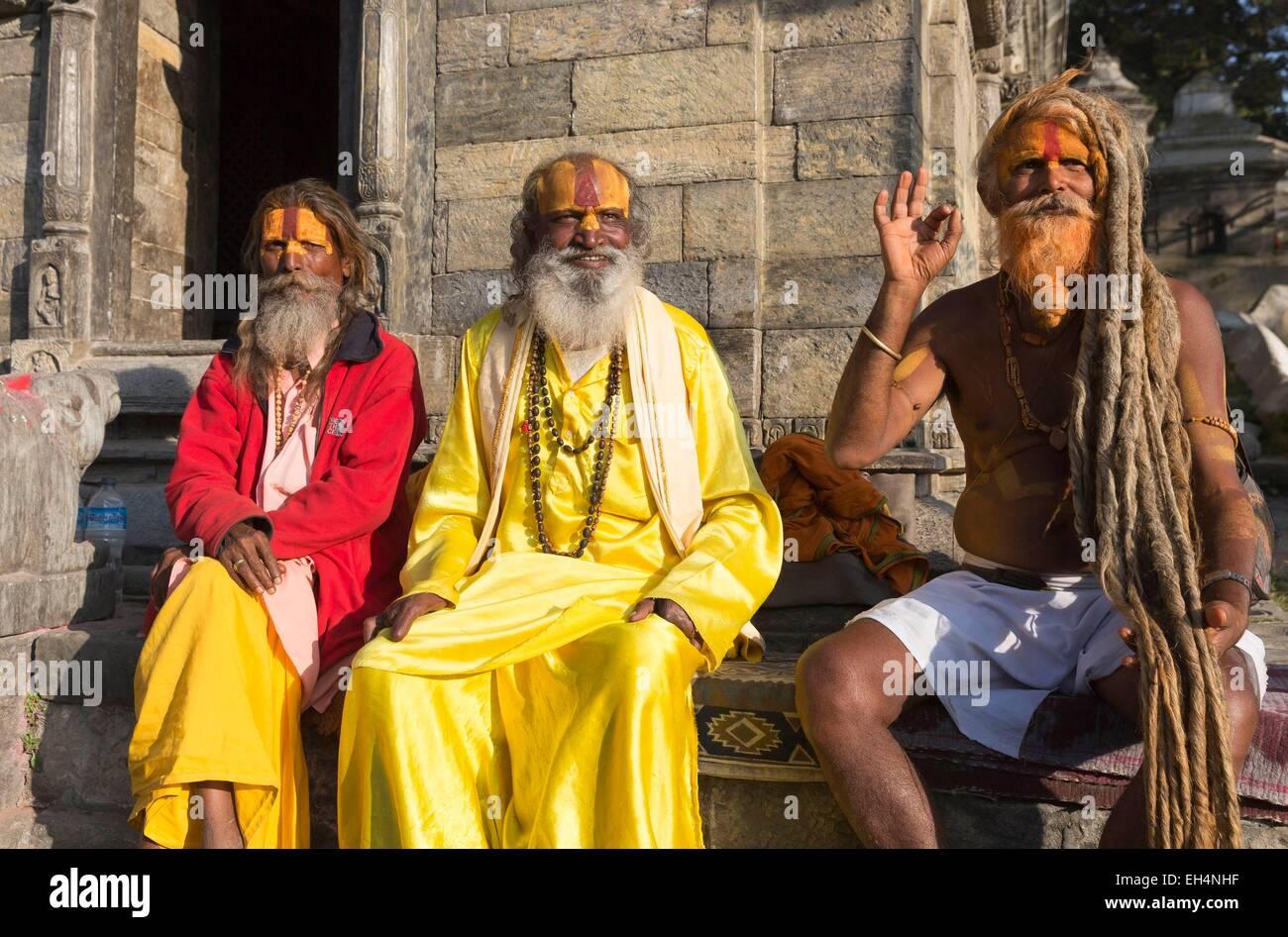 Nepal, Kathmandu valley, Pashupatinath hindu temple, listed as World Heritage by UNESCO, the sadhus - Stock Image