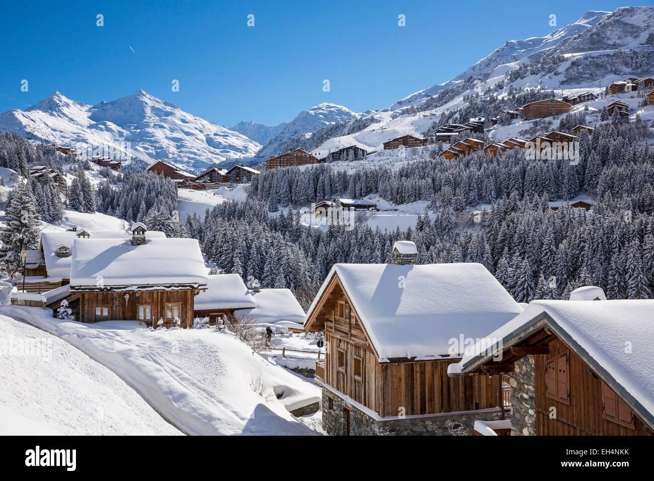 France, Savoie, Tarentaise valley, hamlet of La Rosiere, Meribel Mottaret is one of the largest ski resort village - Stock Image