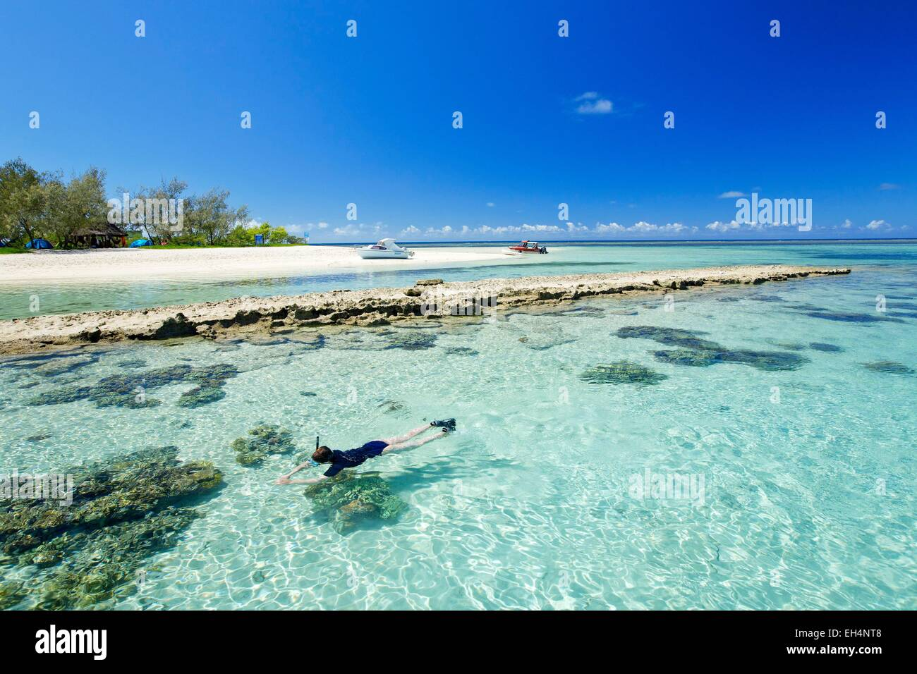 France, New Caledonia, Southern Province, off Noumea, nature reserve island Laregnere Lagoon listed as World Heritage - Stock Image