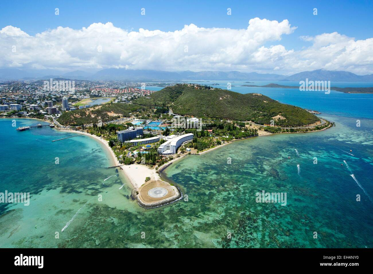 France, New Caledonia, Grande-Terre, Southern Province, Noumea, advanced Magnin (aerial view) - Stock Image
