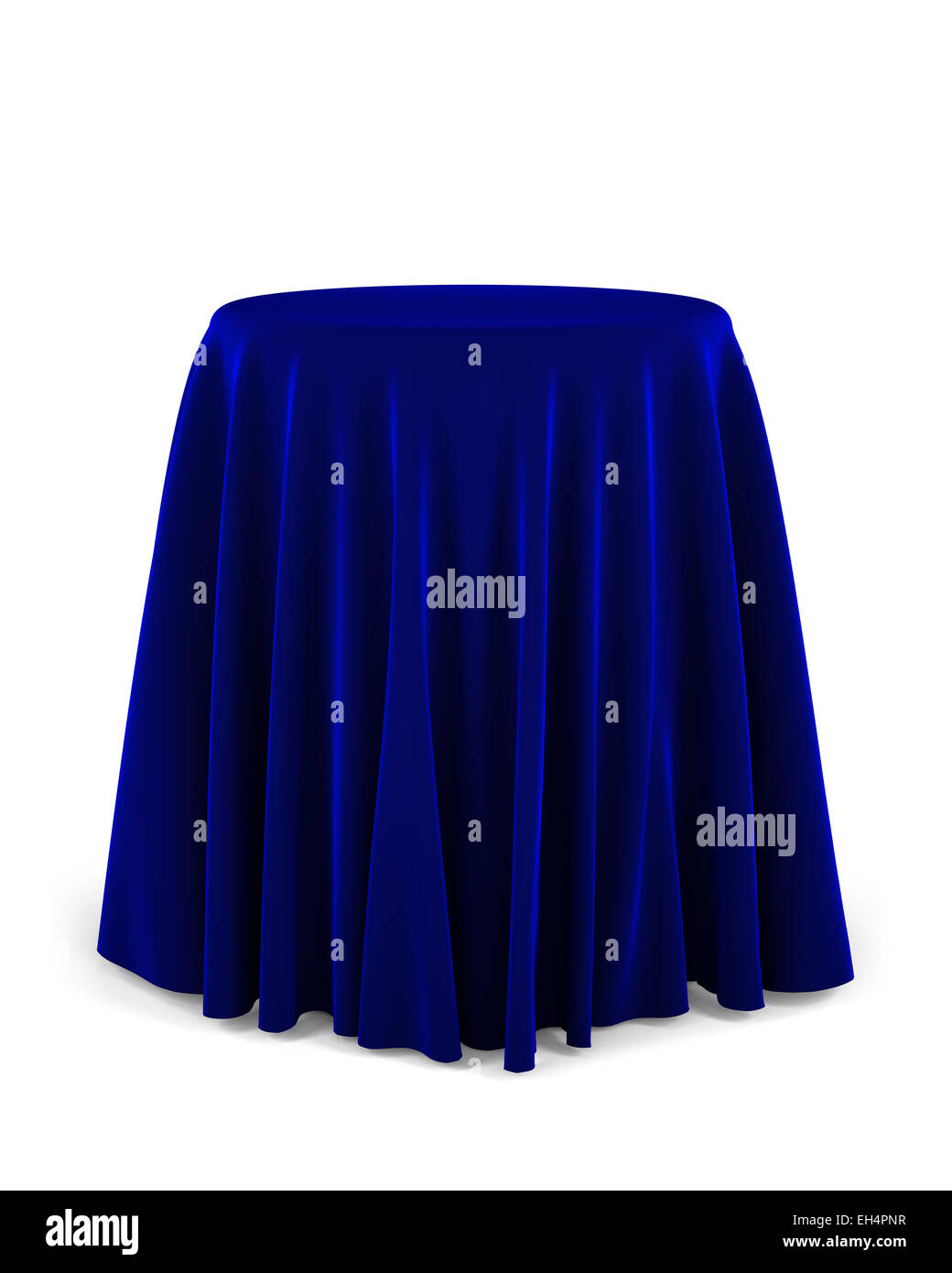Round presentation pedestal covered with a blue cloth - Stock Image