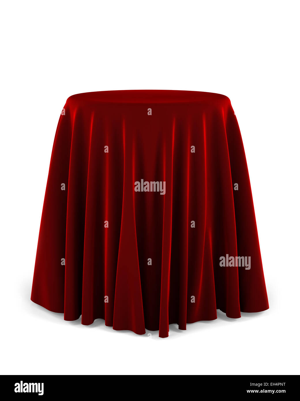 Round presentation pedestal covered with a red cloth - Stock Image