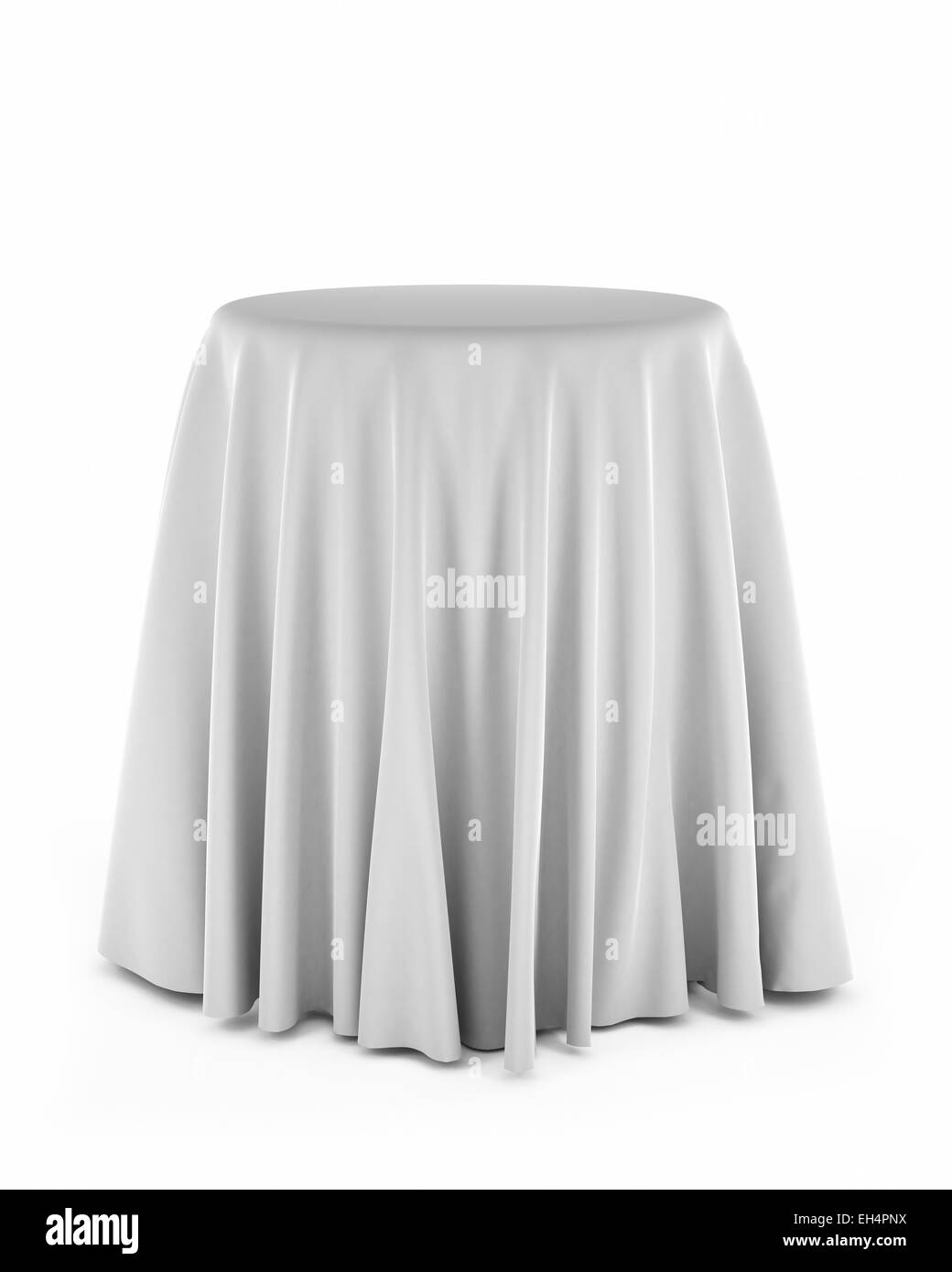 Round presentation pedestal covered with a white cloth - Stock Image