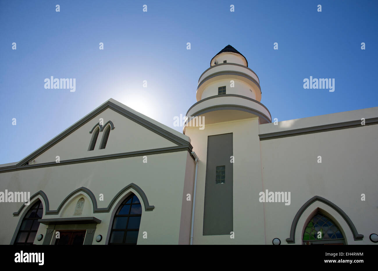 Sun rise above a Mosque in the Malay Quarter Cape Town South Africa - Stock Image