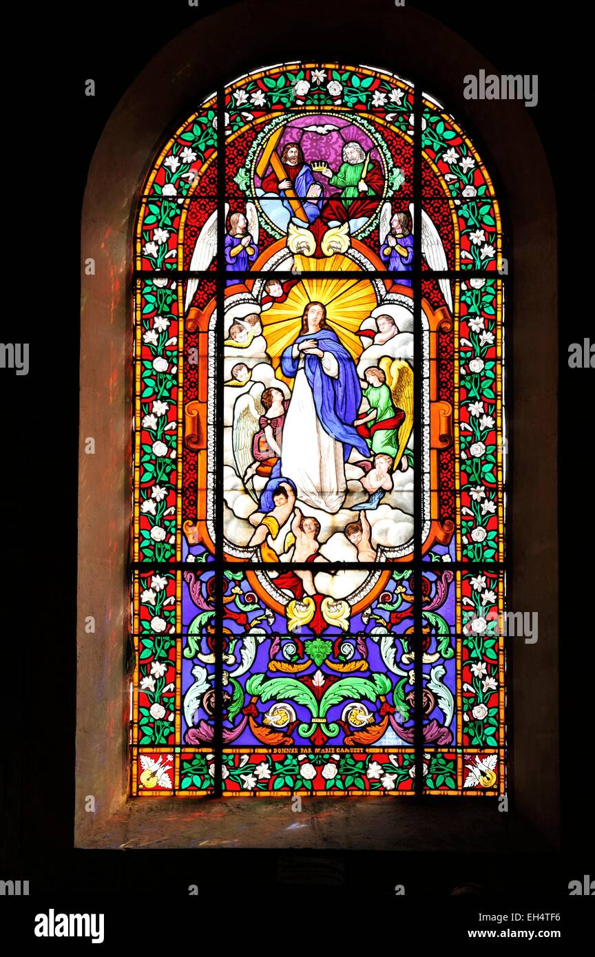France, Marne, Valmy, Saint Martin church, stained glass Stock Photo